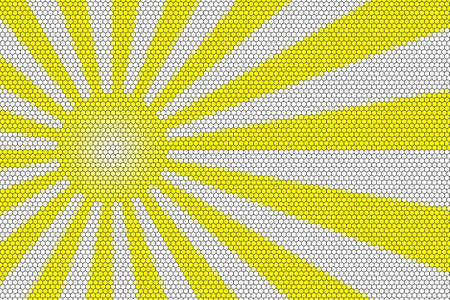hexagonal pattern: Yellow and white rays and ball with hexagonal pattern