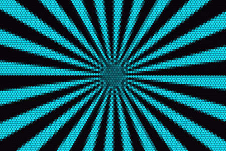 hexagonal pattern: Cyan and black rays from the middle with hexagonal pattern Stock Photo