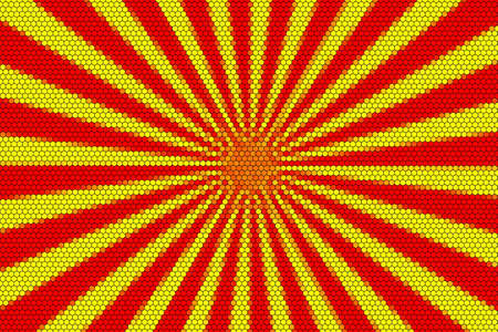 middle: Red and yellow rays from the middle Stock Photo