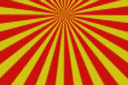 hexagonal pattern: Red and yellow rays from the top with hexagonal pattern