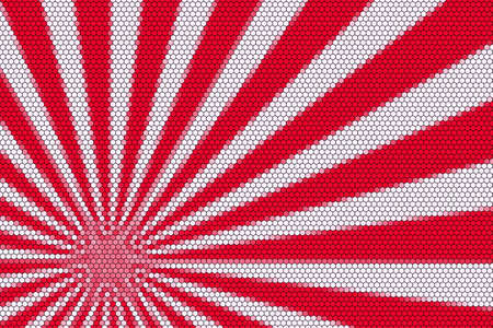 hexagonal pattern: Red and white rays from the corner with hexagonal pattern Stock Photo
