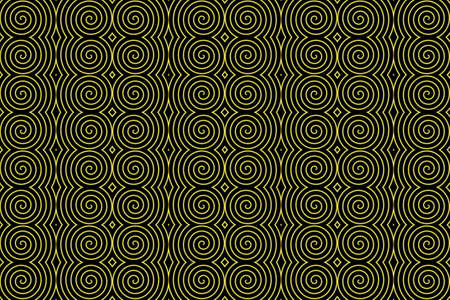 plural: Illustration of repetitive neon yellow spirals