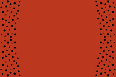 black dots: Black dots as side frame on a red background