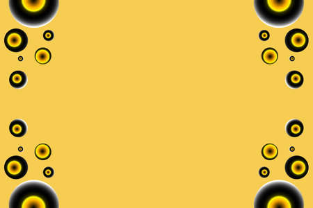 Black and yellow circles as side frame on an orange backround