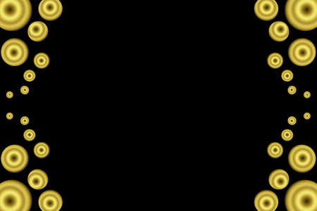 Golden circles as side frame on a black background