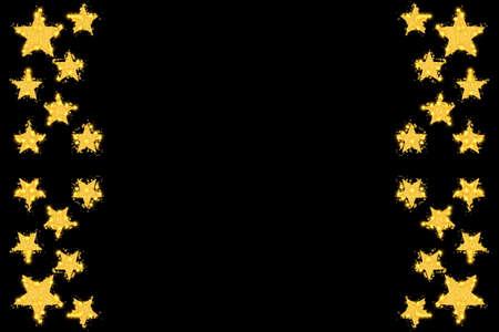 sparkling: sparkling stars as side frame on a black background Stock Photo