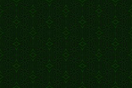 dark green: Illustration of repetitive dark green and black swirls
