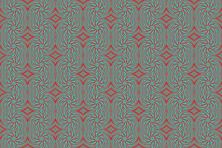 red swirls: Illustration of repetitive cyan and red swirls