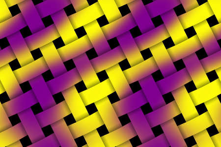 weaved: Illustration of purple and yellow weaved pattern Stock Photo
