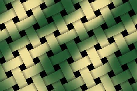 rattan: Illustration of dark green and vanilla weaved pattern Stock Photo