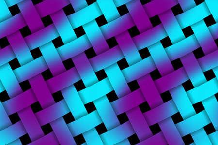 rattan: Illustration of cyan and purple weaved pattern