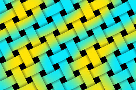 weaved: Illustration of yellow and cyan weaved pattern