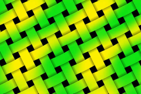 rattan: Illustration of green and yellow weaved pattern