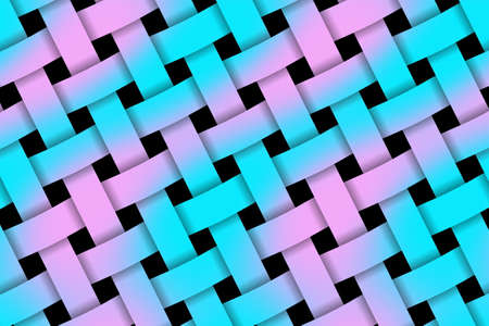 weaved: Illustration of pink and cyan weaved pattern