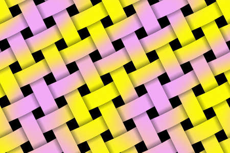 weaved: Illustration of pink and yellow weaved pattern