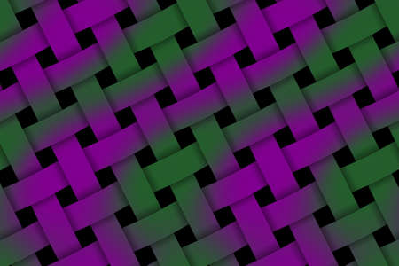 weaved: Illustration of purple and dark green weaved pattern Stock Photo