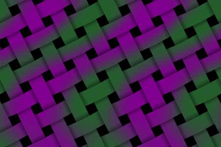 Illustration of purple and dark green weaved pattern