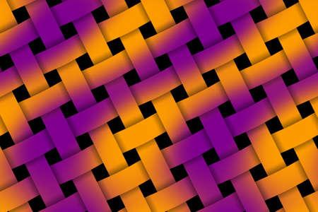weaved: Illustration of orange and purple weaved pattern