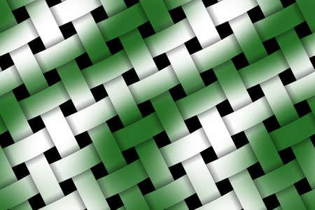 wicker: Illustration of dark green and white weaved pattern