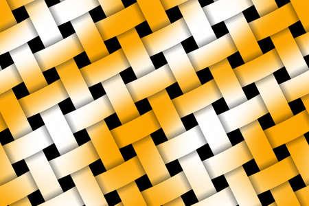 weaved: Illustration of orange and white weaved pattern Stock Photo