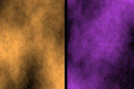 Illustration of orange and purple divided smoky background Stock Photo