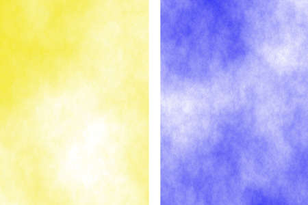 the divided: Illustration of a yellow and dark blue divided white smoky background Stock Photo