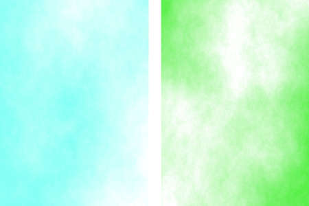 fume: Illustration of a cyan and green divided white smoky background Stock Photo
