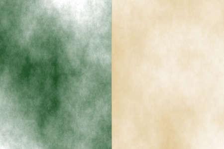 smoky: Illustration of a dark green and vanilla divided white smoky background Stock Photo