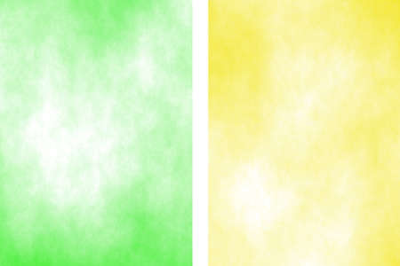the divided: Illustration of a green and yellow divided white smoky background Stock Photo