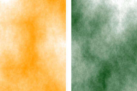 the divided: Illustration of orange and dark green divided white smoky background
