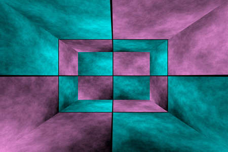 fumes: Illustration of a pink and cyan 3d box