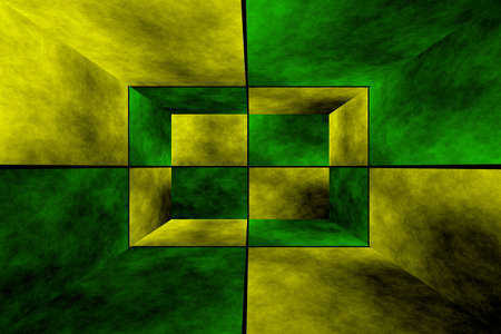 fumes: Illustration of a green and yellow 3d box Stock Photo