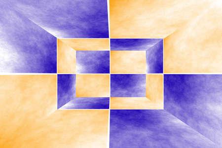 fumes: Illustration of a dark blue and orange 3d box