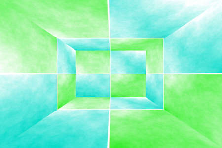Illustration of a cyan and green 3d box Stock Photo