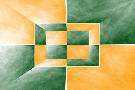 fumes: Illustration of a dark green and orange 3d box