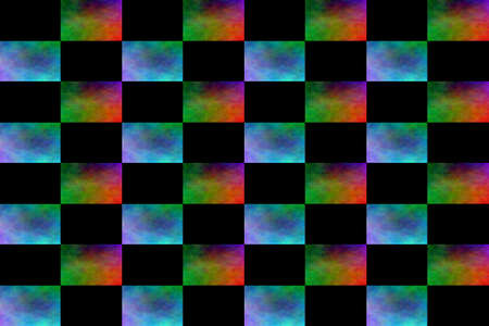 Illustration of an abstract multicolor and black chess board Stock Photo