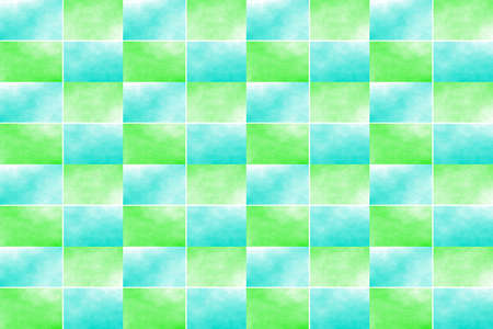 Illustration of an abstract green and cyan chessboard