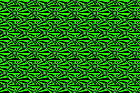 Illustration of Several green and black rays