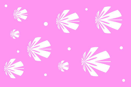 white: Pink background with white flowers