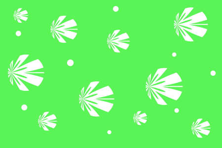 background: Green background with white flowers Illustration