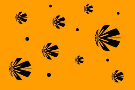 background: Orange background with black flowers