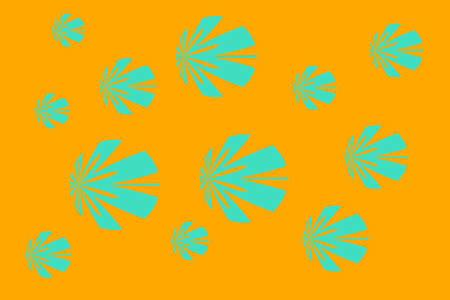 cyan: Orange background with cyan flowers Illustration