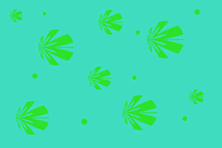 Cyan background with green flowers Illustration