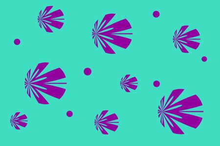 cyan: Cyan background with purple flowers