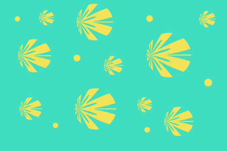 Cyan background with yellow flowers Illustration