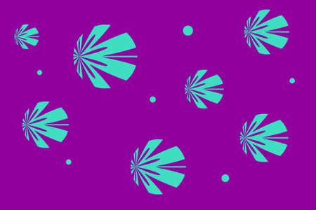 cyan: Purple background with cyan flowers