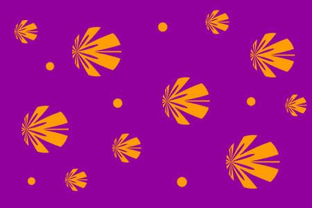 background: Purple background with orange flowers