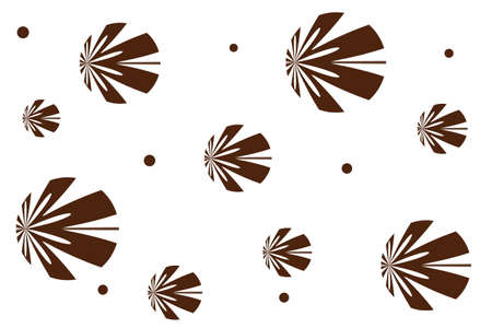 white: White background with brown flowers Illustration