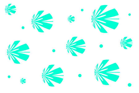 white: White background with cyan flowers Illustration