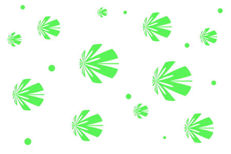 white: White background with green flowers Illustration